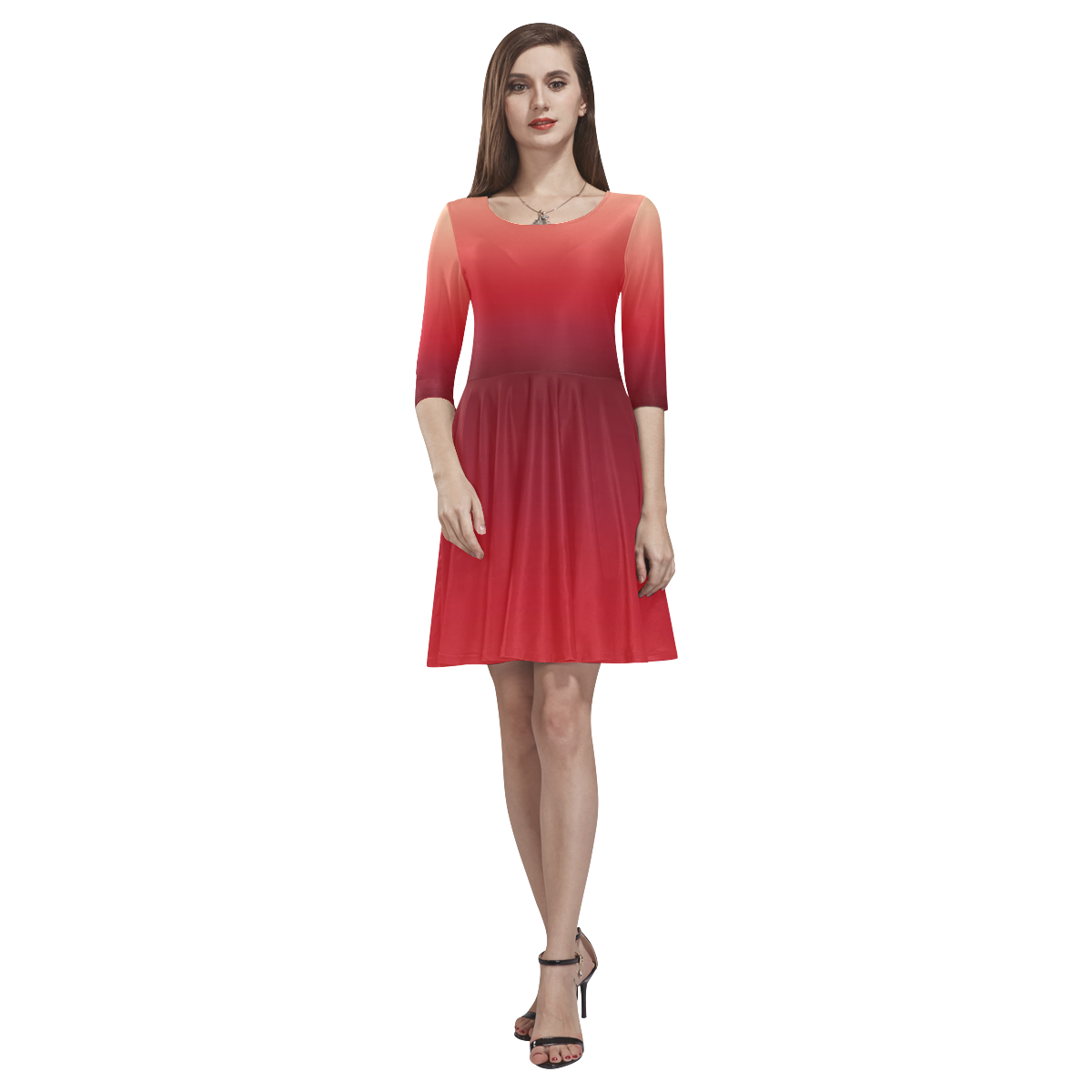 Red Ombre Gradient Tethys Half-Sleeve Skater Dress(Model D20)