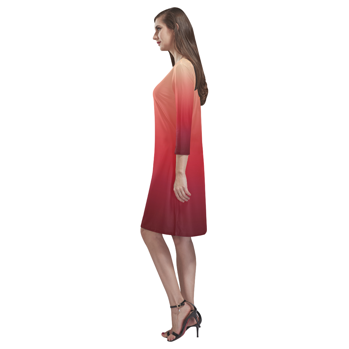 Red Ombre Gradient Rhea Loose Round Neck Dress(Model D22)