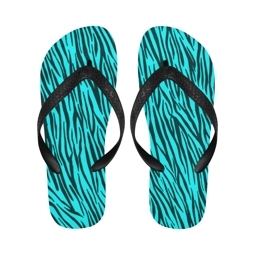 Turquoise Zebra Stripes Fur Pattern Flip Flops for Men/Women (Model 040)
