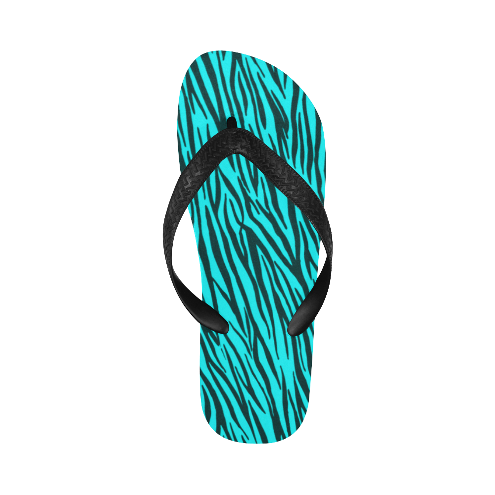 Turquoise Zebra Stripes Fur Pattern Flip Flops for Men/Women (Model 040)