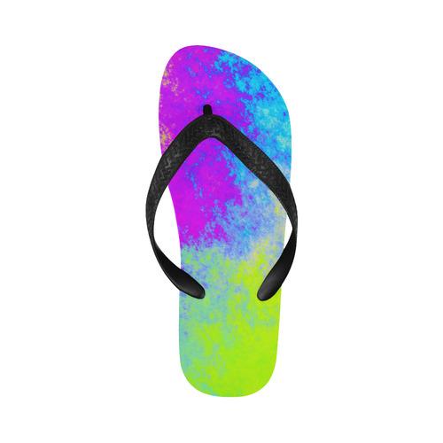 Grunge Radial Gradients Red Yellow Pink Cyan Green Flip Flops for Men/Women (Model 040)