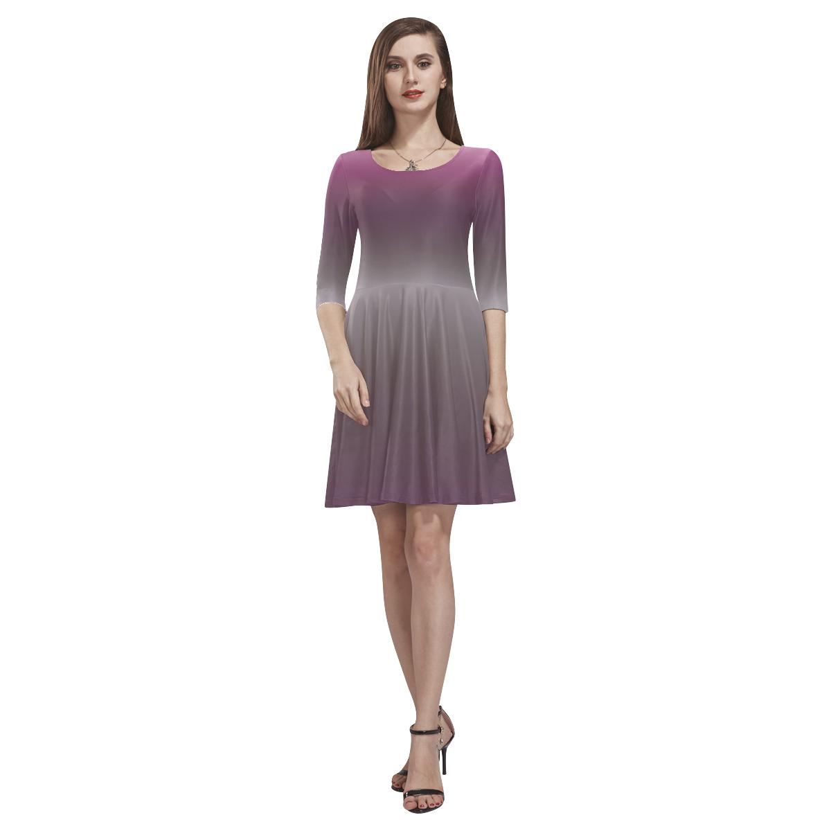 Purple Ombre Gradient Tethys Half-Sleeve Skater Dress(Model D20)