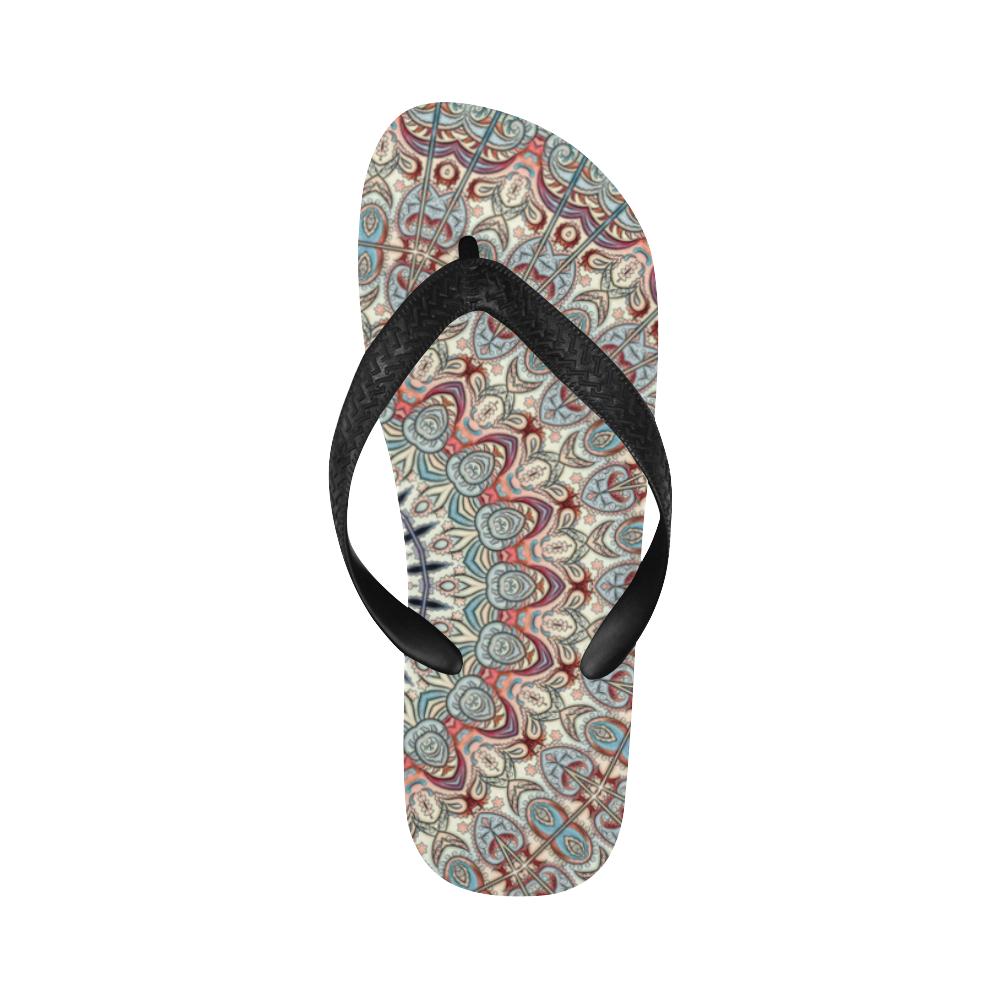 Oriental Watercolor Mandala Soft Blue Red Flip Flops for Men/Women (Model 040)
