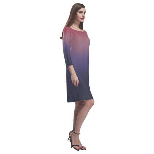 Purple Ombre Gradient Rhea Loose Round Neck Dress(Model D22)