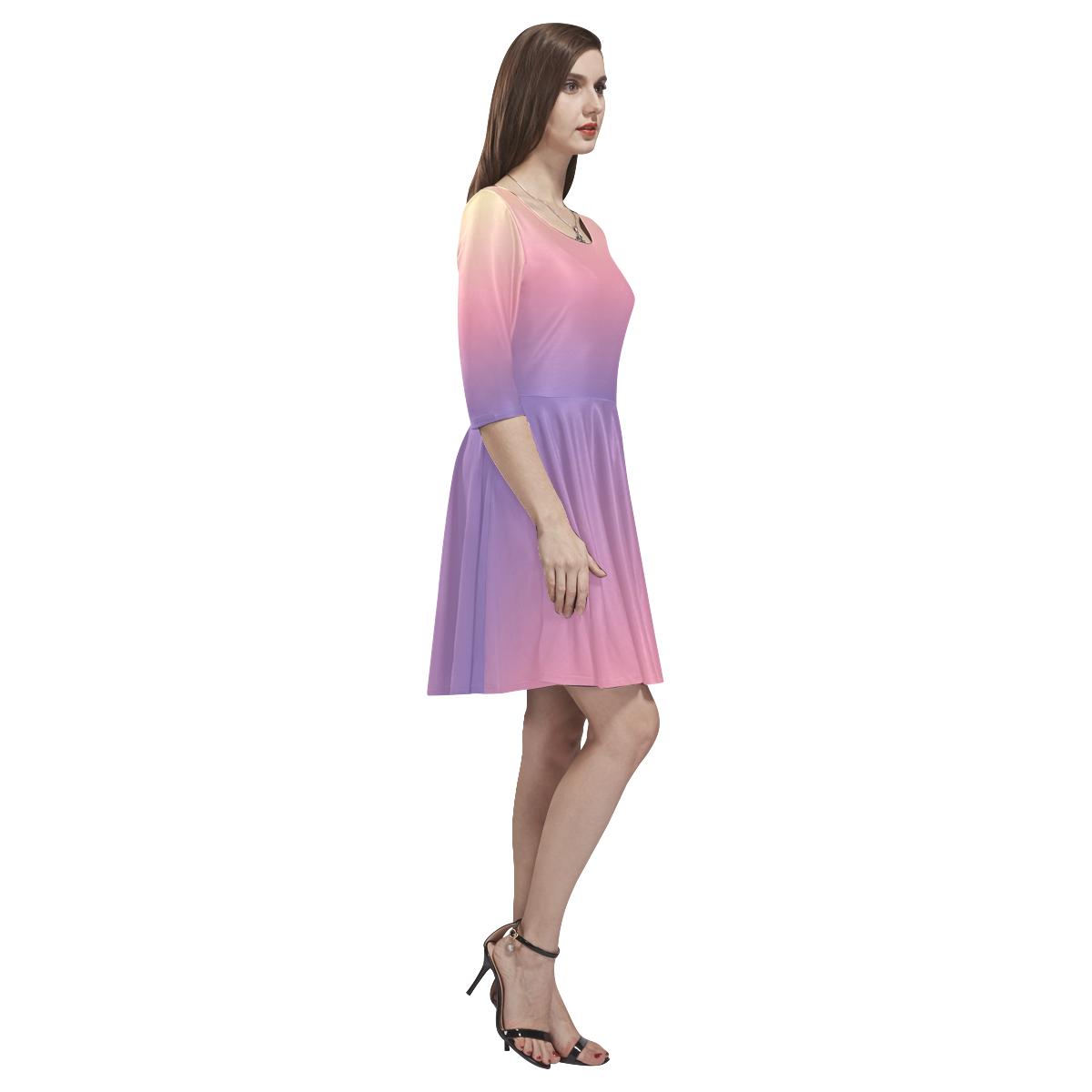 Pastel Ombre Gradient Tethys Half-Sleeve Skater Dress(Model D20)