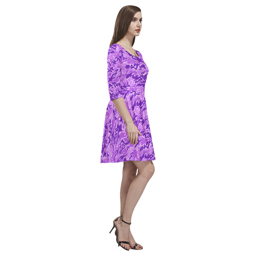 Purple  Camouflage Camo Tethys Half-Sleeve Skater Dress(Model D20)