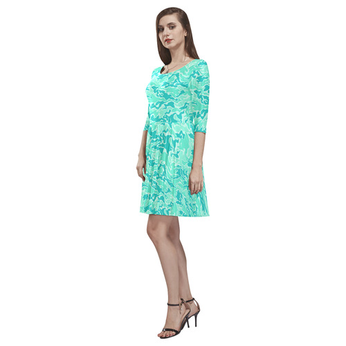Turquosie  Camouflage Camo Tethys Half-Sleeve Skater Dress(Model D20)