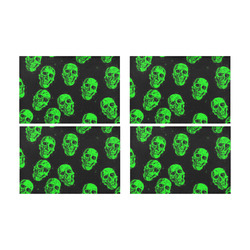 Hot Skulls, green by JamColors Placemat 12'' x 18'' (Four Pieces)