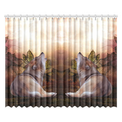 """Beautiful wolf in the night Window Curtain 52""""x84""""(Two Pieces)"""