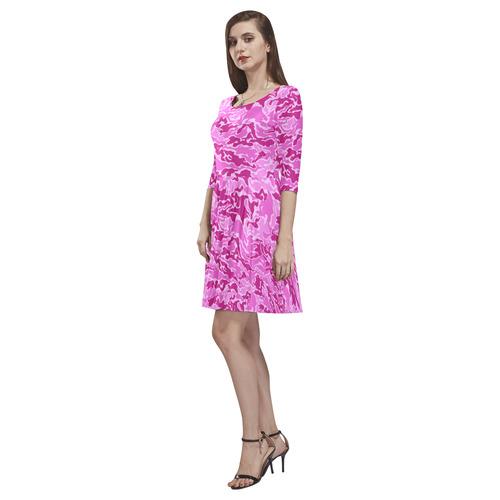 Pink Camouflage Camo Tethys Half-Sleeve Skater Dress(Model D20)
