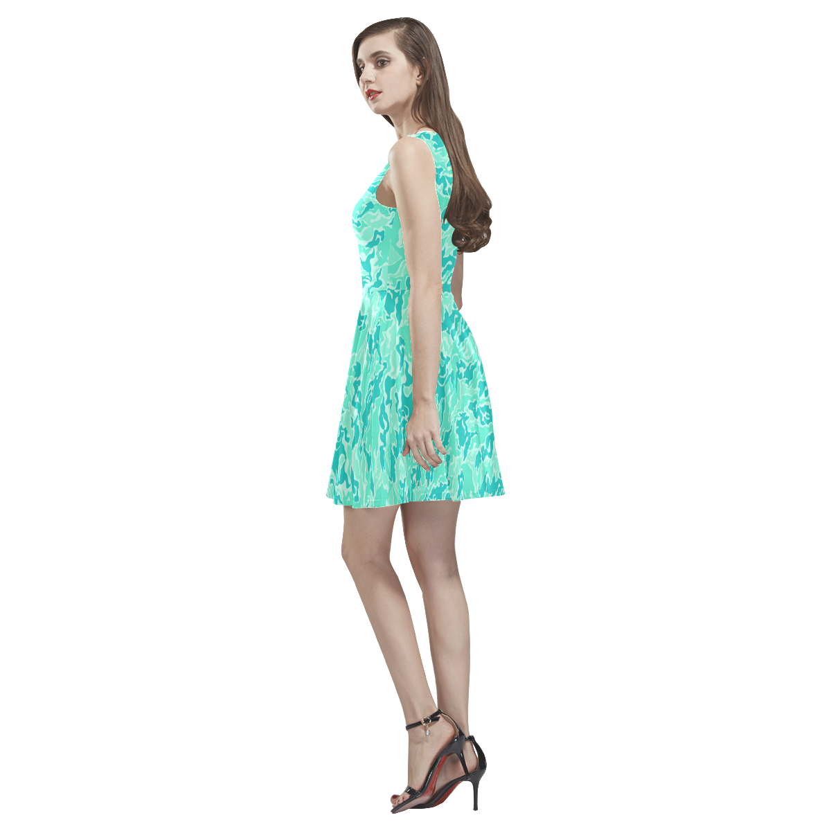 Turquosie  Camouflage Camo Thea Sleeveless Skater Dress(Model D19)
