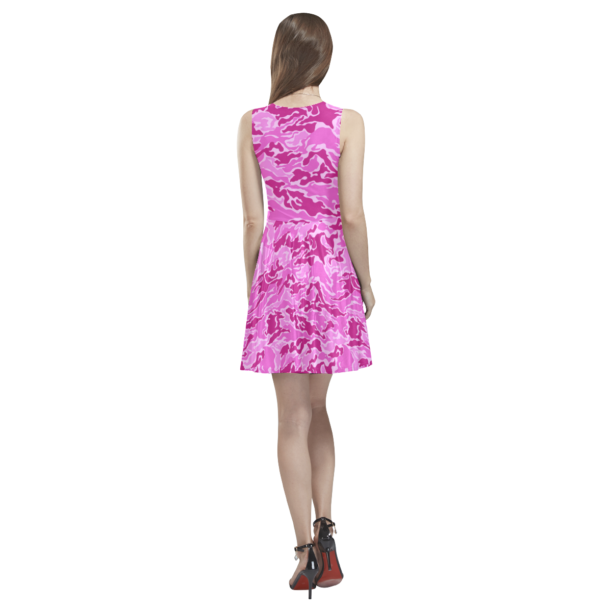 Pink Camouflage Camo Thea Sleeveless Skater Dress(Model D19)