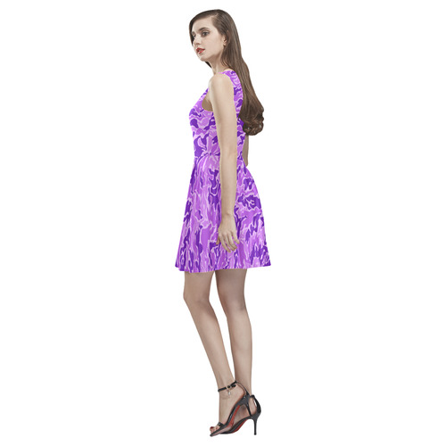 Purple  Camouflage Camo Thea Sleeveless Skater Dress(Model D19)