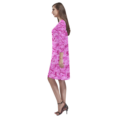 Pink Camouflage Camo Rhea Loose Round Neck Dress(Model D22)