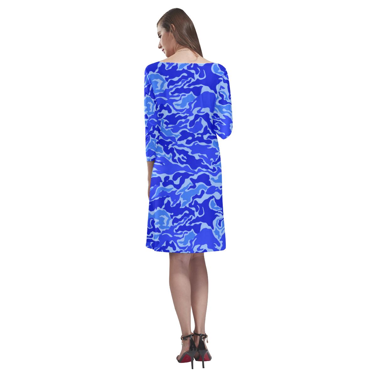 Blue Camouflage Camo Rhea Loose Round Neck Dress(Model D22)