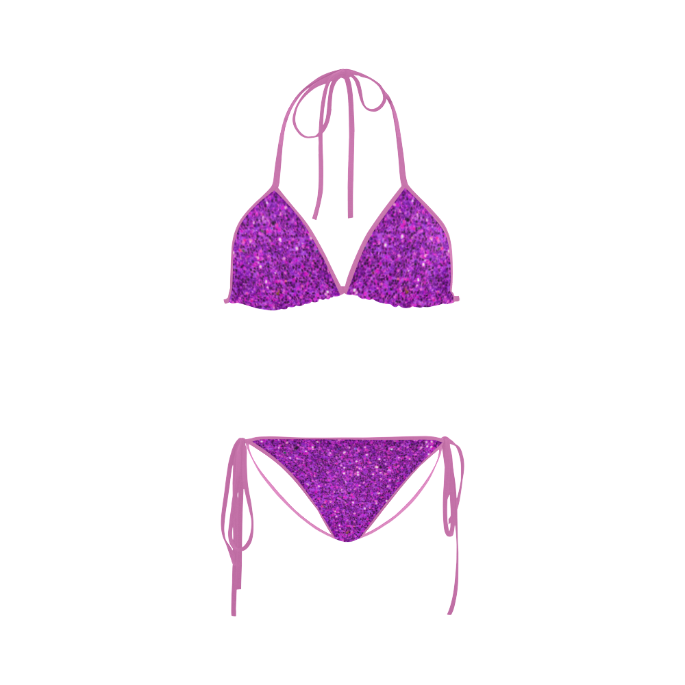 purple glitter Custom Bikini Swimsuit