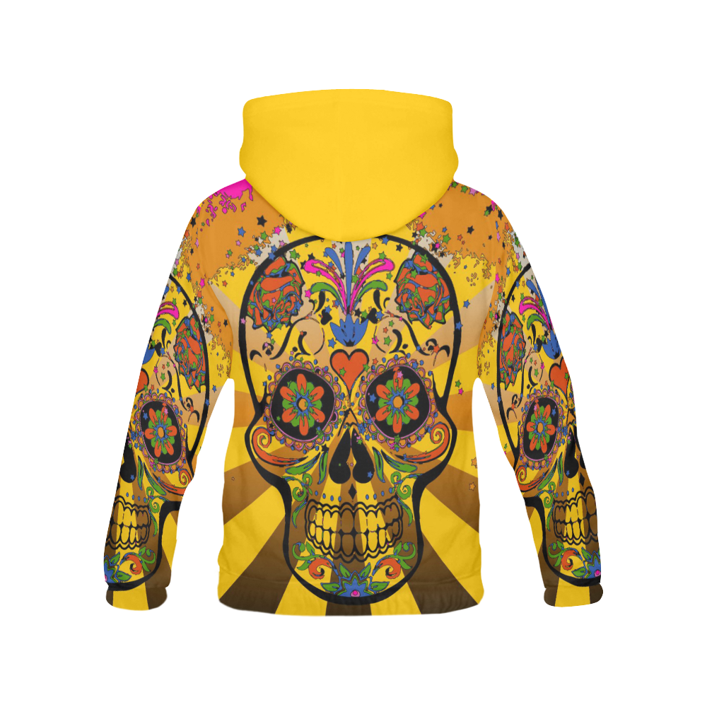psychedelic Pop Skull 317A by JamColors All Over Print Hoodie for Women (USA Size) (Model H13)
