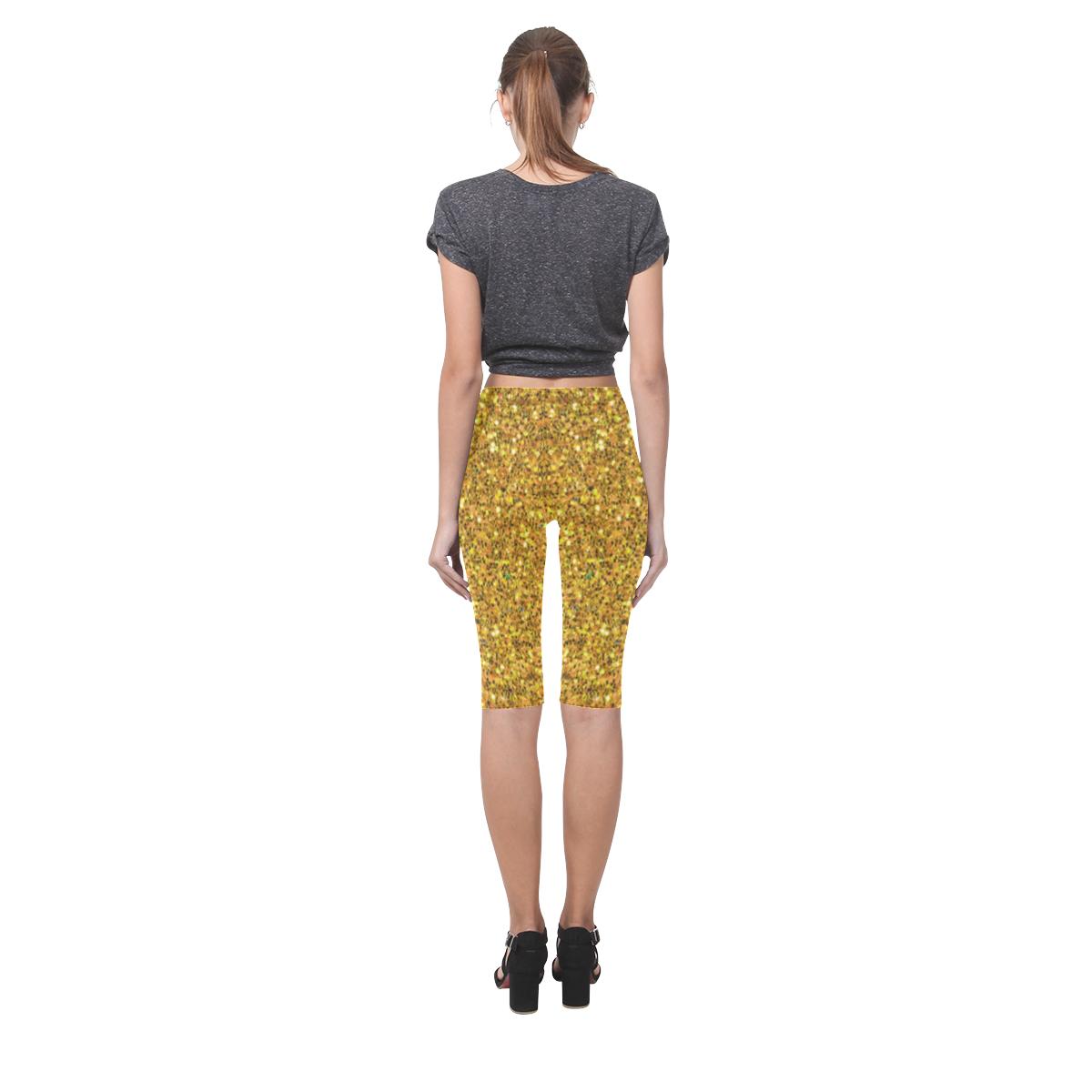 yellow glitter Hestia Cropped Leggings (Model L03)