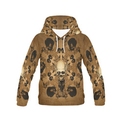 Skull with skull mandala on the background All Over Print Hoodie for Women (USA Size) (Model H13)