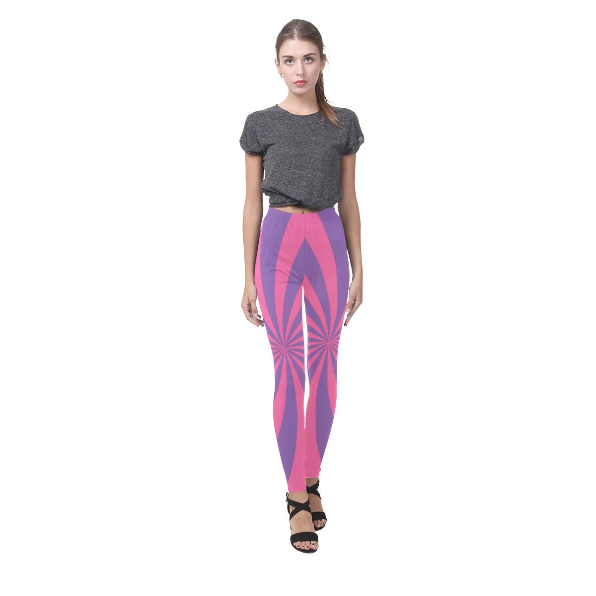 Pink and Purple Swirl Cassandra Women's Leggings (Model L01)