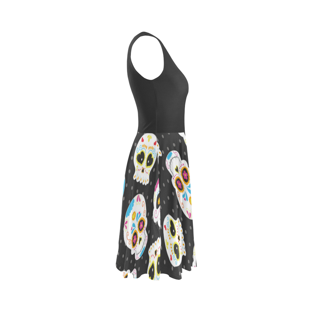 Sugarskulls Sleeveless Ice Skater Dress (D19)