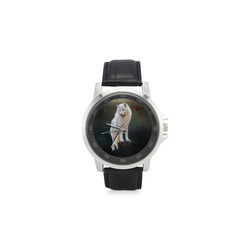 A wonderful painted arctic wolf Unisex Stainless Steel Leather Strap Watch(Model 202)