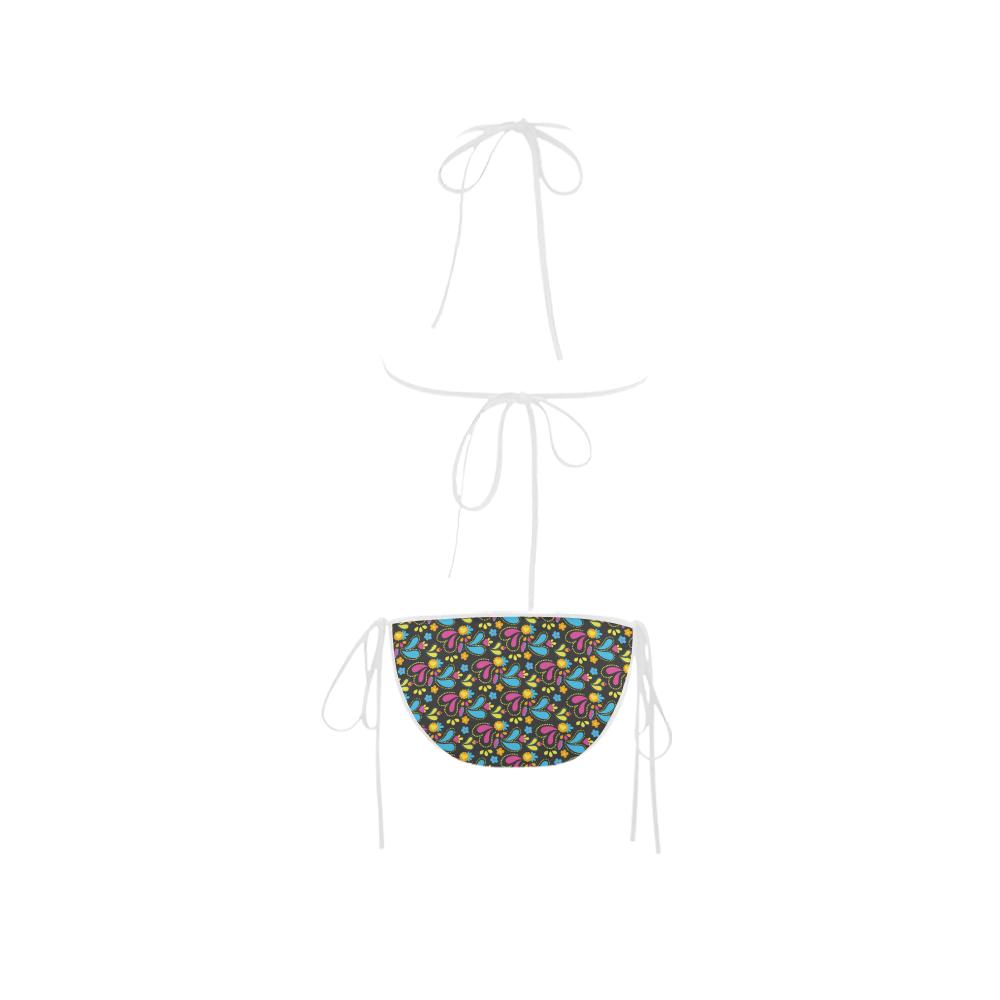 Black, Pink, and Teal Paisley Custom Bikini Swimsuit