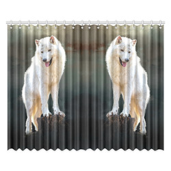"""A wonderful painted arctic wolf Window Curtain 52""""x84""""(Two Pieces)"""