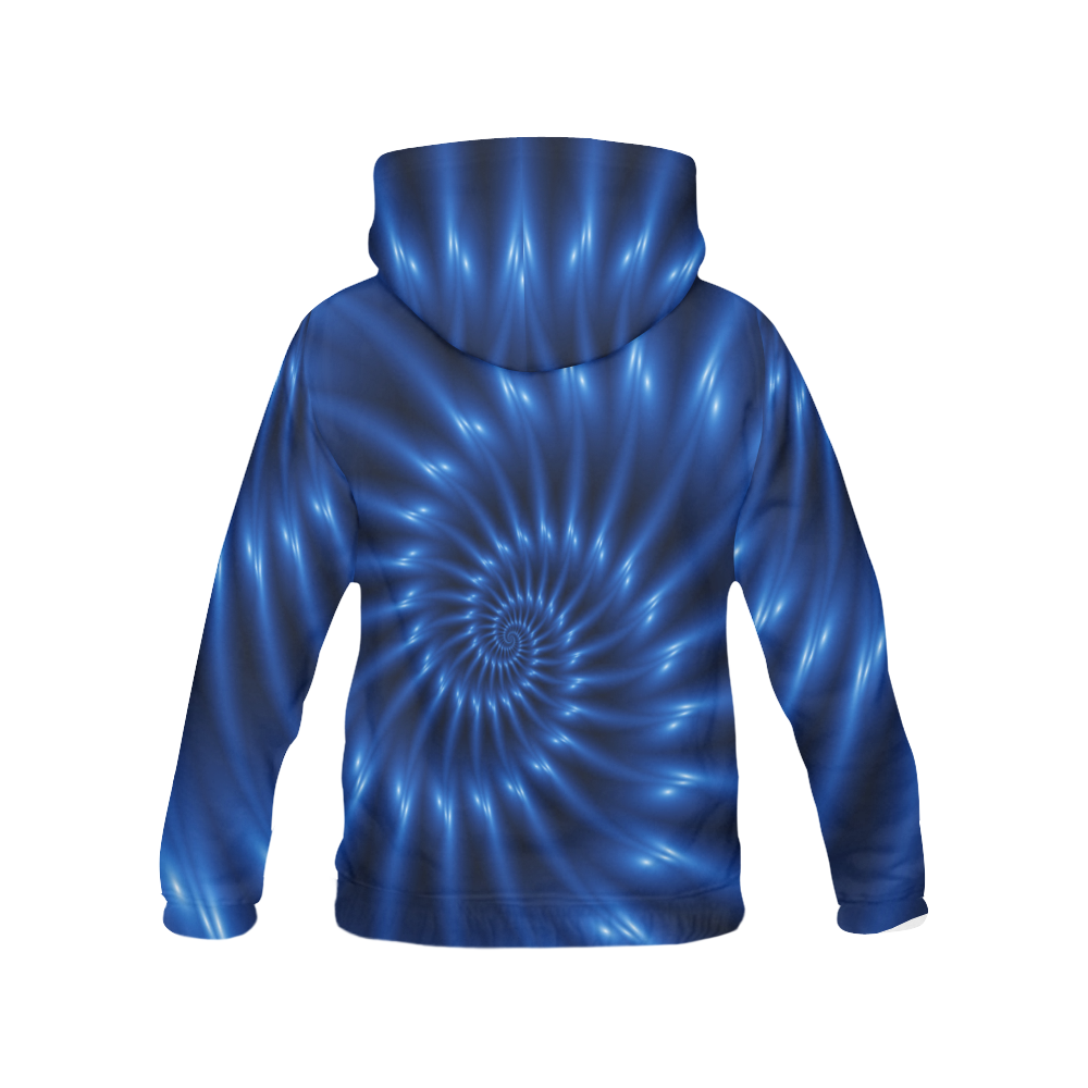 Glossy Blue Fractal Spiral All Over Print Hoodie for Men (USA Size) (Model H13)