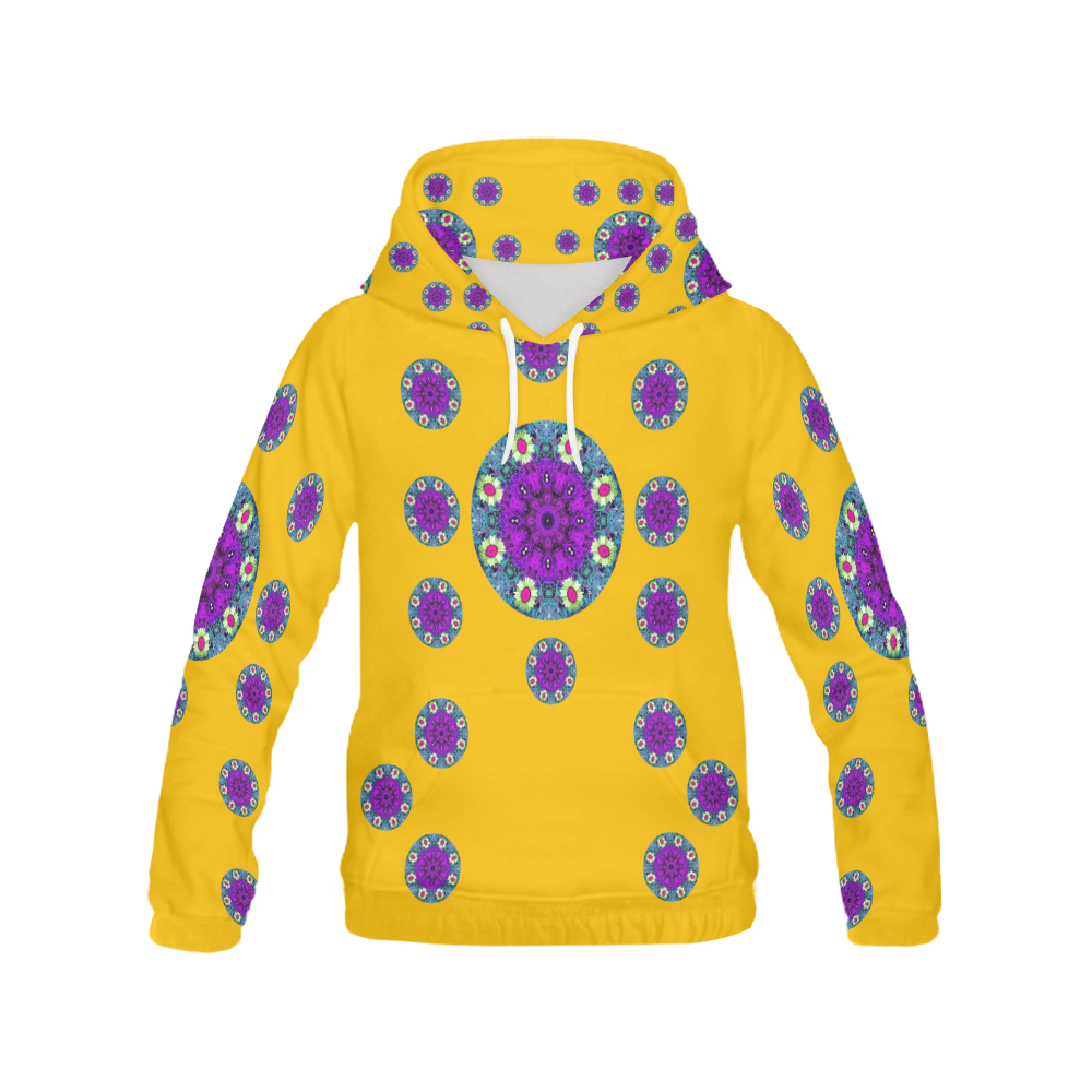 Sweet as candy and yellow All Over Print Hoodie for Women (USA Size) (Model H13)