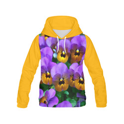 Little Purple Pansies Trimmed in Yellow Gold All Over Print Hoodie for Women (USA Size) (Model H13)
