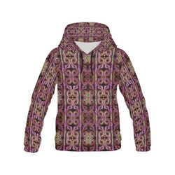 Multicolored Maroon All Over Print Hoodie for Women (USA Size) (Model H13)