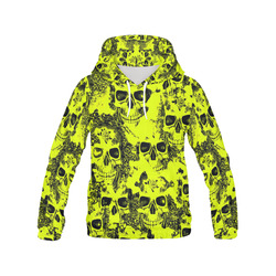 cloudy Skulls black yellow by JamColors All Over Print Hoodie for Women (USA Size) (Model H13)