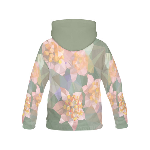 Low Poly Flowers All Over Print Hoodie for Women (USA Size) (Model H13)