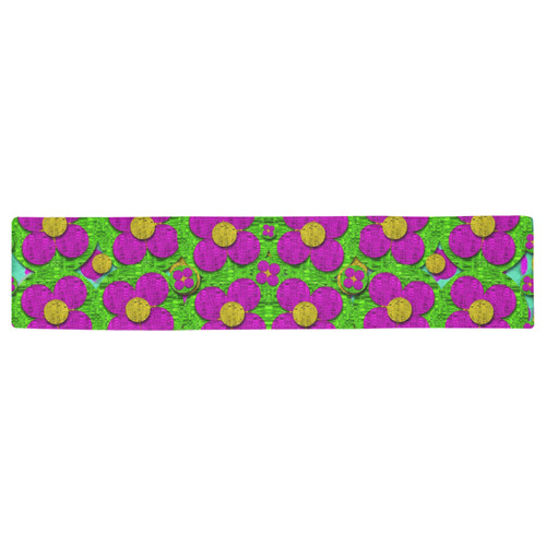 Bohemian big flower of the power Table Runner 16x72 inch