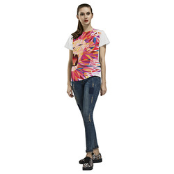 lion roaring polygon triangles All Over Print T-Shirt for Women (USA Size) (Model T40)