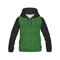 Green and Black All Over Print Hoodie for Women (USA Size) (Model H13)
