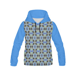 Green Blue and Black All Over Print Hoodie for Women (USA Size) (Model H13)