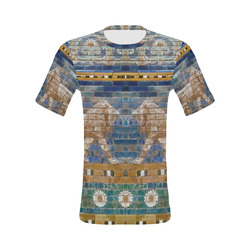 Two Lions And Daisis Mosaic All Over Print T-Shirt for Men (USA Size) (Model T40)