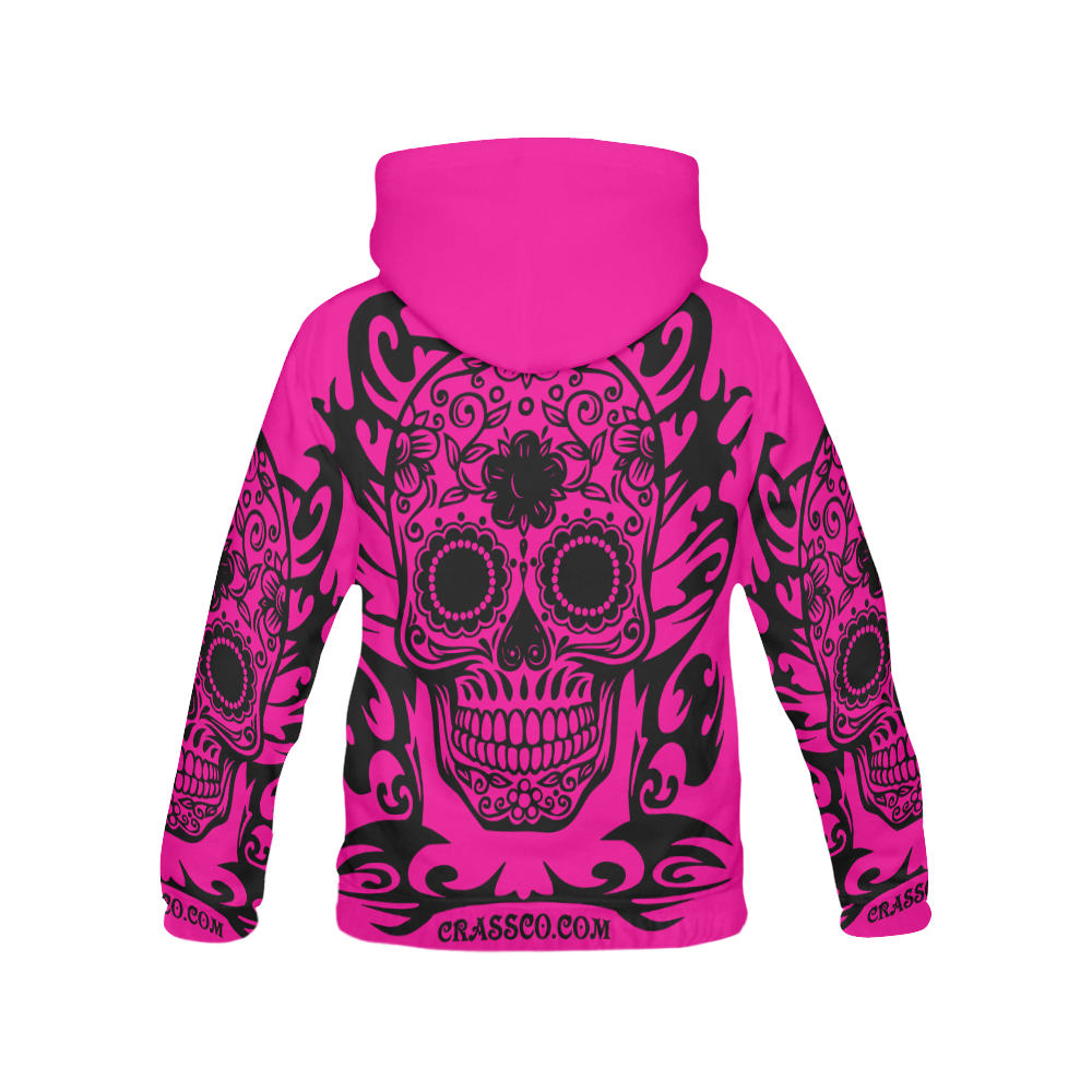 SKULL TRIBAL PINK All Over Print Hoodie for Men (USA Size) (Model H13)