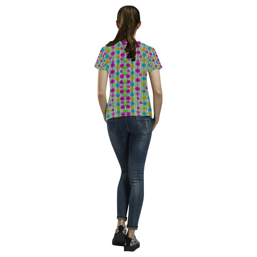 Wood and flower trees with smiles of gold All Over Print T-Shirt for Women (USA Size) (Model T40)