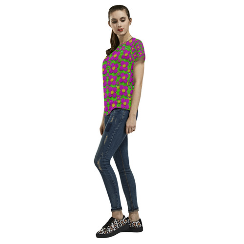 Bohemian big flower of the power All Over Print T-Shirt for Women (USA Size) (Model T40)