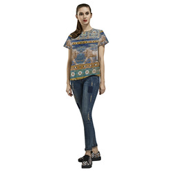 Two Lions And Daisis Mosaic All Over Print T-Shirt for Women (USA Size) (Model T40)