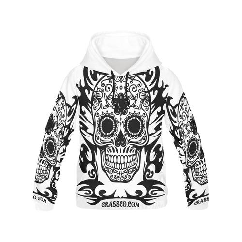 SKULL TRIBAL WHITE All Over Print Hoodie for Men (USA Size) (Model H13)