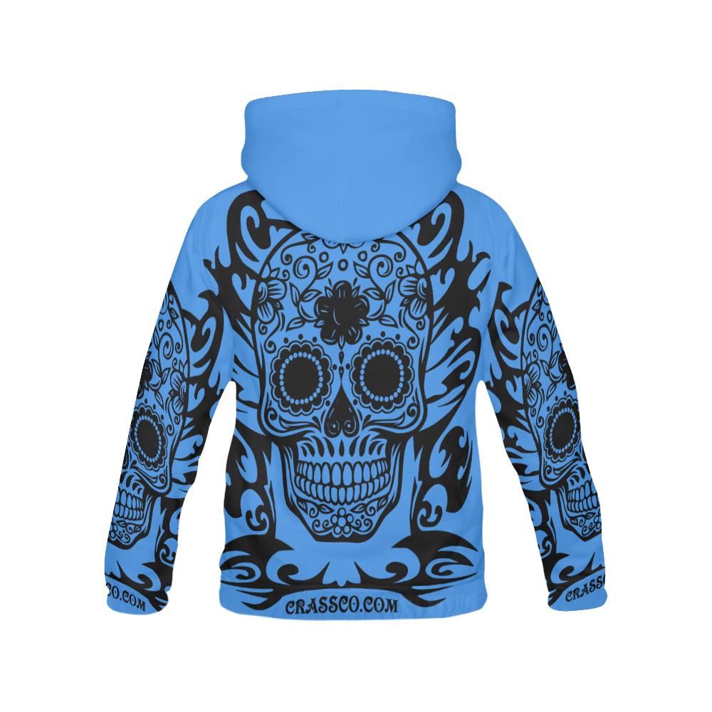 SKULL TRIBAL BLUE All Over Print Hoodie for Men (USA Size) (Model H13)