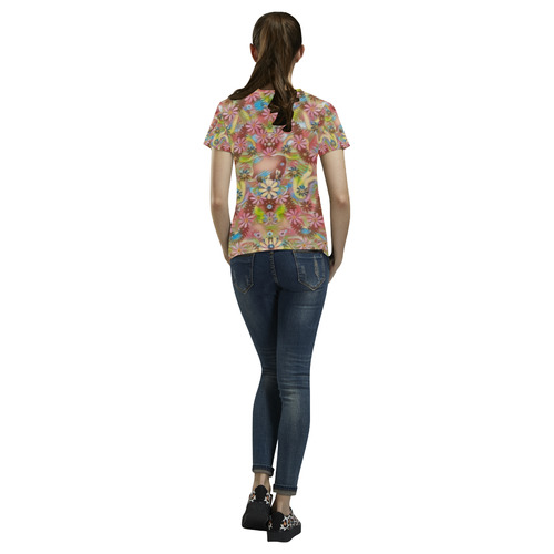 Jungle life and paradise apples All Over Print T-Shirt for Women (USA Size) (Model T40)