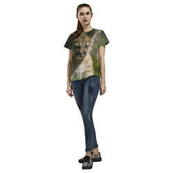 Lovely Puma Baby All Over Print T-Shirt for Women (USA Size) (Model T40)