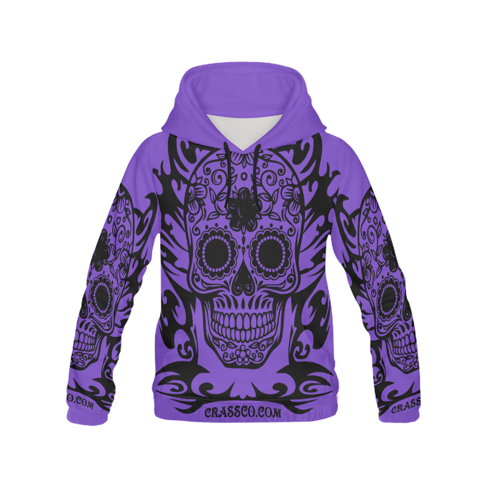 SKULL TRIBAL LILAC All Over Print Hoodie for Men (USA Size) (Model H13)