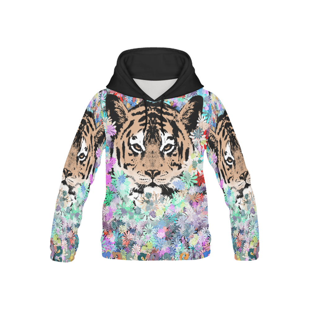 TIGER FLOWERS 2 All Over Print Hoodie for Kid (USA Size) (Model H13)