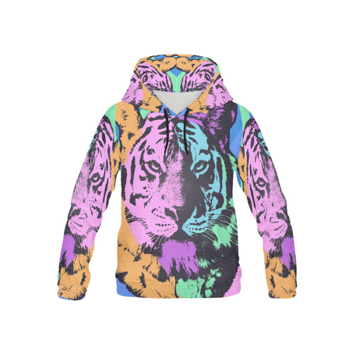 TIGER MULTICOLOR All Over Print Hoodie for Kid (USA Size) (Model H13)